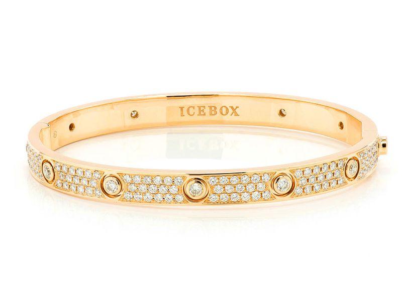 Extra Large Signature Bangle Full Diamond Bracelet 14K   6.85ctw