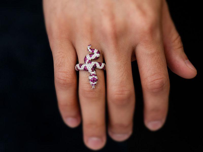 Ruby Snake Ring 14K   2.87ctw