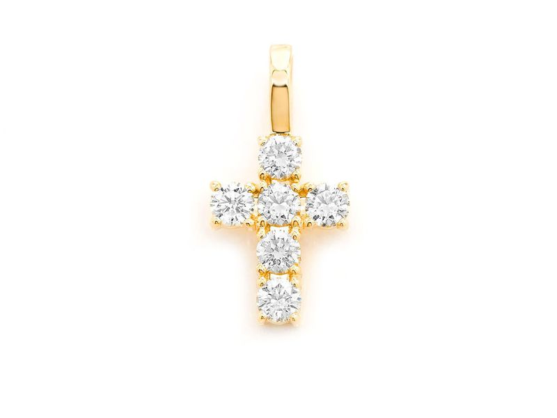 Medium Rocks Cross Pendant 14K   0.89ctw