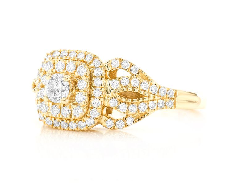 Cushion Double Halo W/ Fancy Shank Ring 14K   0.75ctw