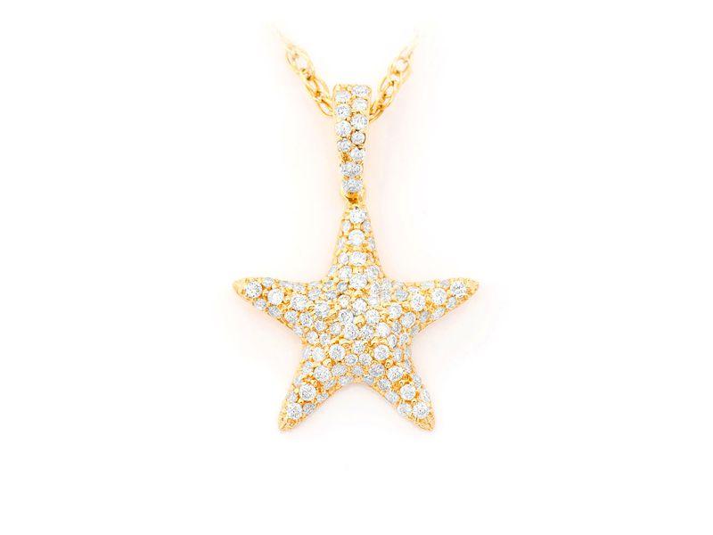 Starfish Pendant 14K   0.51ctw