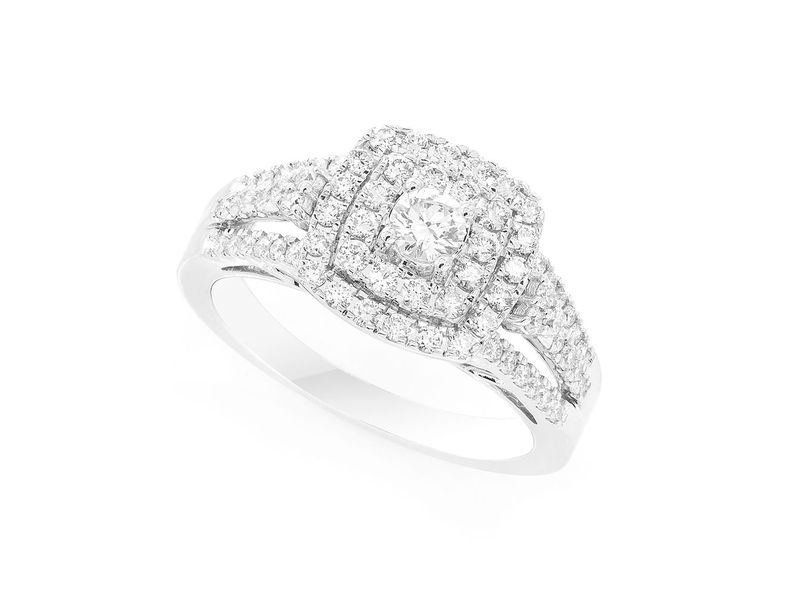 Princess Double Halo Ring 14K   0.74ctw