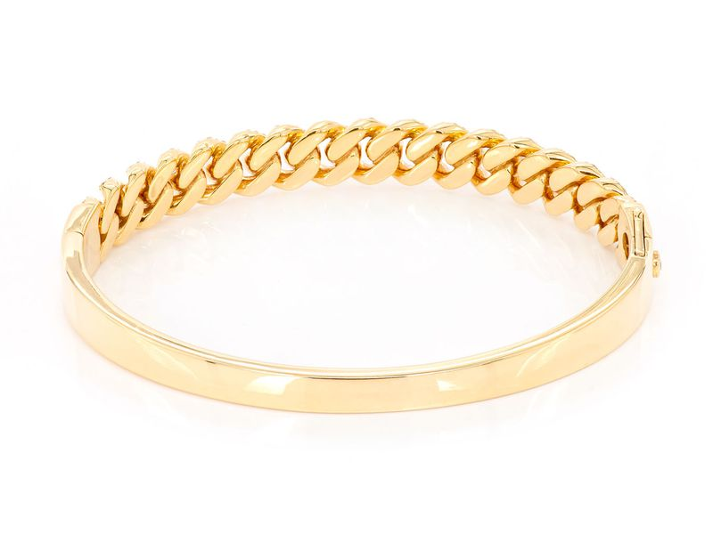 Large Half Diamond Cuban Bangle Bracelet 14K   1.82ctw