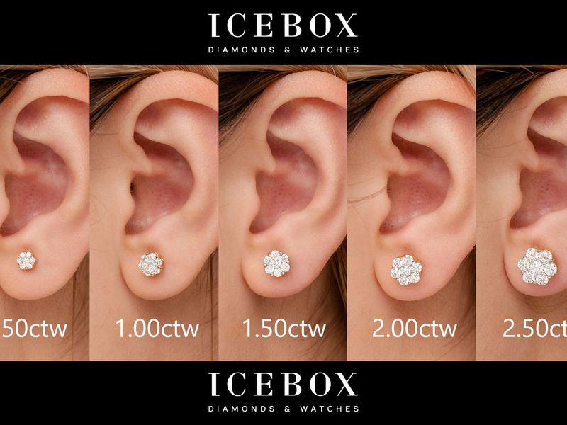 Round Flower Stud Earrings 14K   0.75ctw