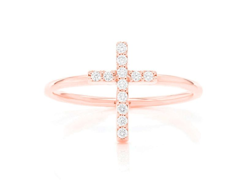 Cross Promise Ring 14K   0.10ctw